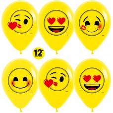 Воздушный шар Смайлы Emoji (любовь) желтый пастель (30 см)