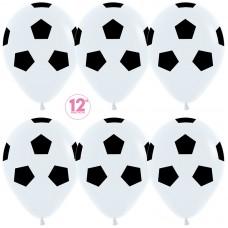 Воздушный шар Футбольный мяч белый пастель (30 см)