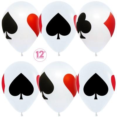 Воздушный шар Карточные масти белый пастель (30 см)