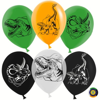 Воздушный шар Эра Динозавров ассорти пастель (30 см)