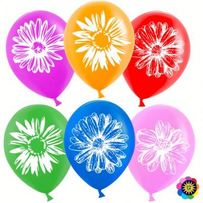 Воздушный шар Ромашки ассорти лайт пастель (30 см)