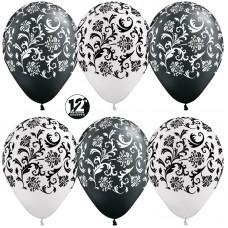 Воздушный шар Узоры жемчужный-черный металлик (30 см)