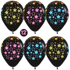 Воздушный шар Звезды черный неон (30 см)