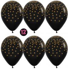 Воздушный шар Золотое конфетти черный металлик (30 см)