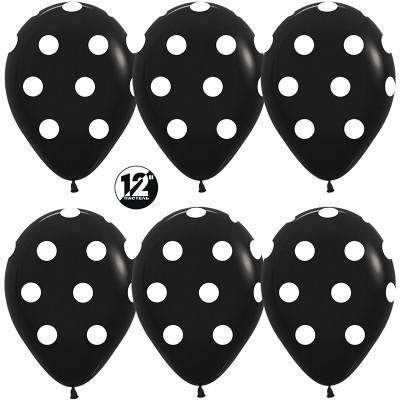 Воздушный шар Белые точки черный пастель (30 см)