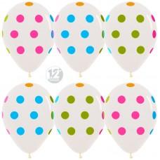 Воздушный шар Разноцветные точки прозрачный неон (30 см)