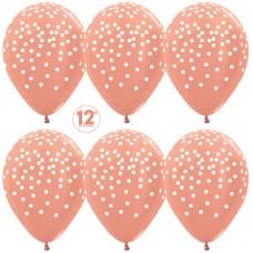 Воздушный шар Белое конфетти розовое золото металлик (30 см)