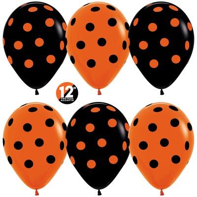 Воздушный шар Точки оранжевый-черный пастель (30 см)