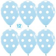 Воздушный шар Белые точки голубой пастель (30 см)