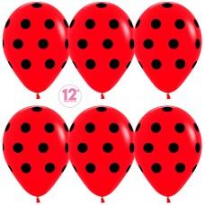 Воздушный шар Черные точки красный пастель (30 см)