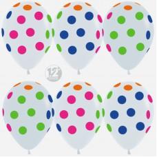 Воздушный шар Разноцветные точки белый неон (30 см)