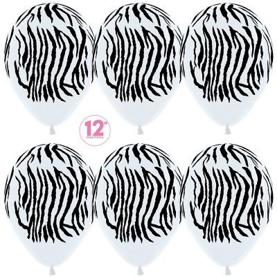 Воздушный шар Окрас зебры белый пастель (30 см)