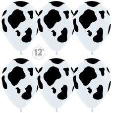 Воздушный шар Окрас черные пятна белый пастель (30 см)