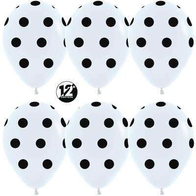Воздушный шар Черные точки белый пастель (30 см)