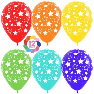 Воздушный шар Звезды ассорти пастель (30 см)