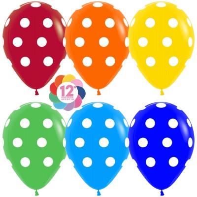 Воздушный шар Точки ассорти пастель (30 см)