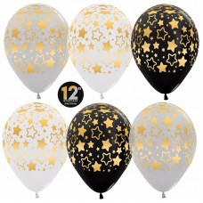 Воздушный шар Звезды контур ассорти пастель (30 см)