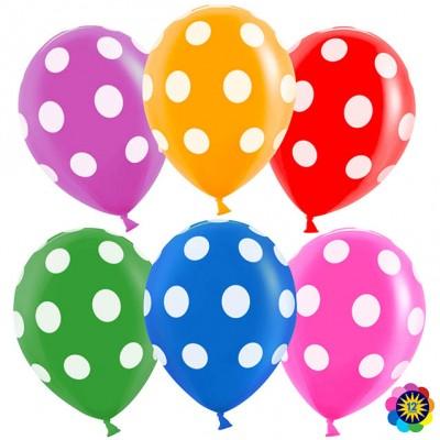 Воздушный шар Точки №1 ассорти пастель (30 см)