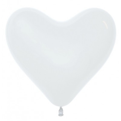 Воздушный шар-сердце белый пастель (30 см)