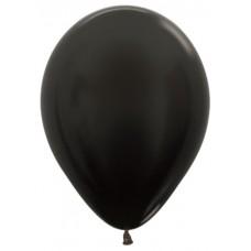 Воздушный шар черный металлик (30 см)