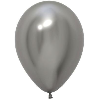 Воздушный шар Зеркальный блеск серебро хром (30 см)