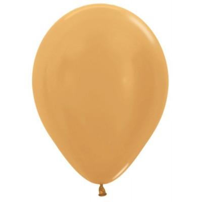 Воздушный шар золото яркое металлик (30 см)