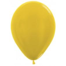 Воздушный шар желтый металлик (30 см)