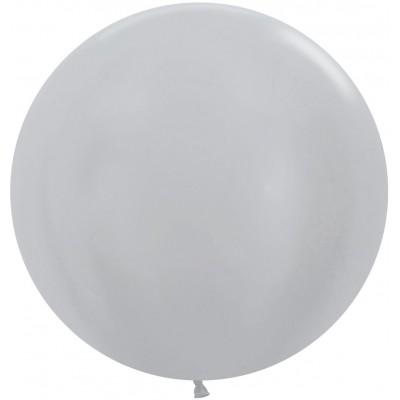 Большой шар серебро перламутр