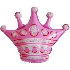 Фольгированный воздушный шар-фигура Корона розовый (76 см)