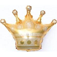 Фольгированный воздушный шар-фигура Корона золото (86 см)