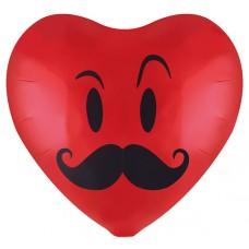 Фольгированный воздушный шар-сердце Смайл с усами красный (48 см)