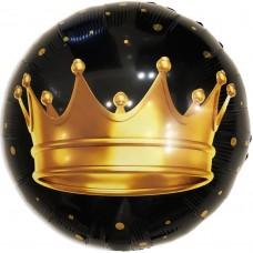 Фольгированный воздушный шар-круг Золотая корона черный (46 см)
