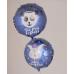 Фольгированный воздушный шар-круг Ты Мой Герой (панда-король) синий (46 см)