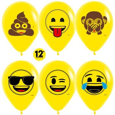 Воздушный шар Смайлы Emoji (Озорные) желтый пастель (30 см)