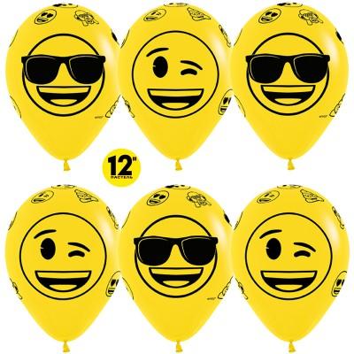 Воздушный шар Смайлы Emoji (Крутые) желтый пастель (30 см)
