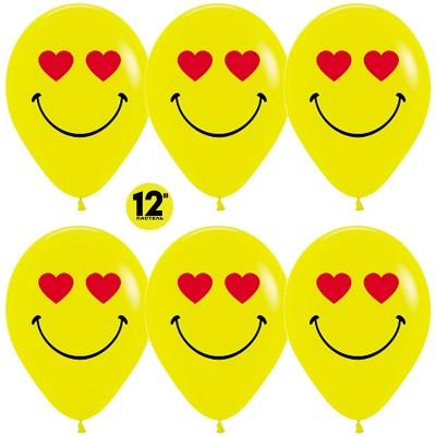 Воздушный шар Смайл Emoji (влюбленный) желтый пастель (30 см)