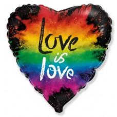 Фольгированный воздушный шар-сердце Любовь (яркие краски) черный (46 см)