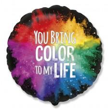 Фольгированный воздушный шар-круг С тобой моя жизнь ярче черный (46 см)