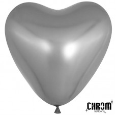 Воздушный шар- сердце серебро хром (30 см)