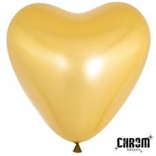 Воздушный шар- сердце золото хром (30 см)