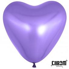Воздушный шар- сердце фиолетовый хром (30 см)