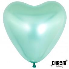 Воздушный шар- сердце зеленый хром (30 см)