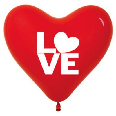 Воздушный шар- сердце Любовь красный (30 см)
