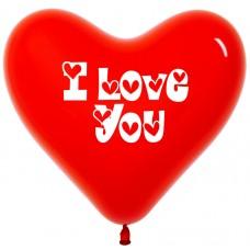 Воздушный шар- сердце I love you красный (30 см)