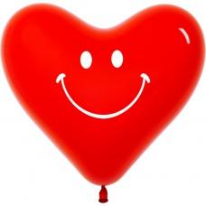 Воздушный шар- сердце Смайл красный (30 см)