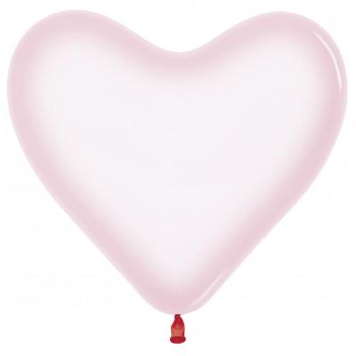 Воздушный шар-сердце Макарунс хрустально-розовый хром (30 см)