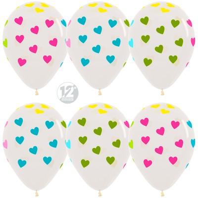 Воздушный шар Сердца прозрачный (30 см)