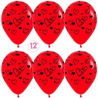 Воздушный шар Набросок сердец красный (30 см)