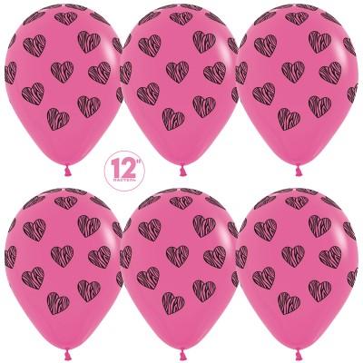 Воздушный шар Полосатые сердца Фуше (30 см)