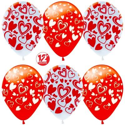 Воздушный шар Сердца белый/красный (30 см)